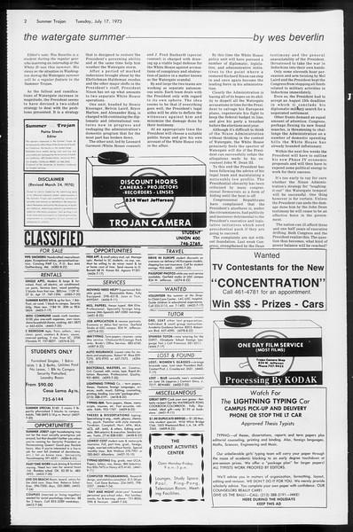 Summer Trojan, Vol. 66, No. 9, July 17, 1973