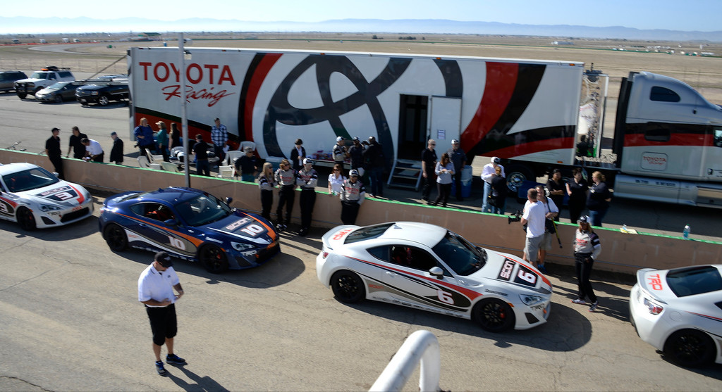 . March 15,2014. Rosamond CA.  Celebrities  in the Long Beach Grand Prix practice racing with instructors in Toyota race cars at the Willow Springs International Raceway Saturday. Photo  by Gene Blevins/LA DailyNews