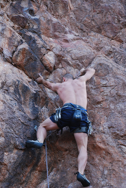 Martin on Last Chance for Alcohol (5.11a).