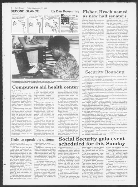 Daily Trojan, Vol. 100, No. 19, September 27, 1985