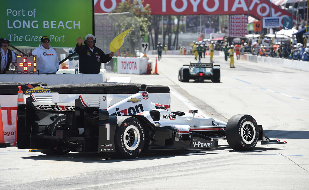 . Indy Car driver Will Power stalls at the entrance of pit lane during the 41st Annual Toyota Grand Prix of Long Beach.  Long Beach  Calif., Sunday,  April,19, 2015.     (Photo by Stephen Carr / Daily Breeze)
