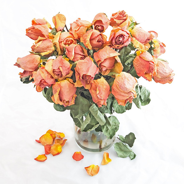 Dried Orange Rose Bouquet