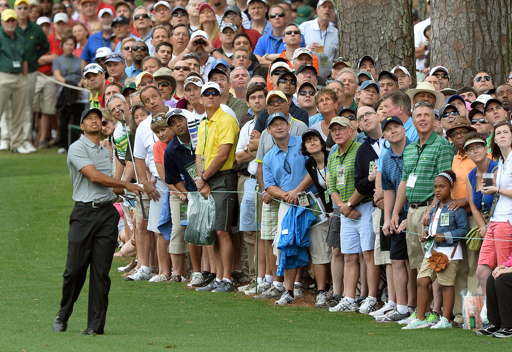 . Tiger Woods of the US plays during the first round of the 77th Masters golf tournament at Augusta National Golf Club on April 11, 2013 in Augusta, Georgia.   JEWEL SAMAD/AFP/Getty Images