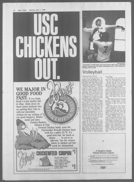 Daily Trojan, Vol. 106, No. 57, April 11, 1988
