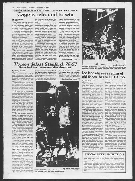 Daily Trojan, Vol. 91, No. 64, December 07, 1981