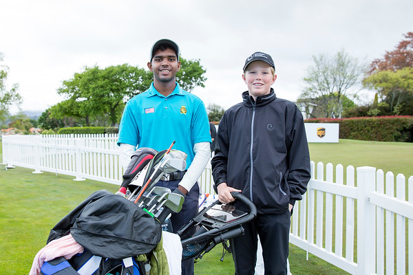 Rhaasrikanesh Kanavathi from Malaysia (with his 15 year old caddy Ben Burgess from Christchurch) just before hitting off the 1st tee on Day 1 of competition in the Asia-Pacific Amateur Championship tournament 2017 held at Royal Wellington Golf Club, in Heretaunga, Upper Hutt, New Zealand from 26 - 29 October 2017. Copyright John Mathews 2017.   www.megasportmedia.co.nz