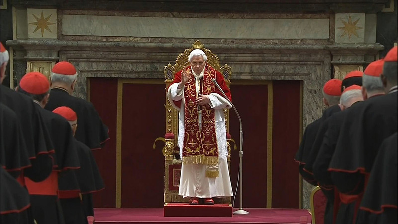 """. In this image taken from video, Pope Benedict XVI delivers his final message to the assembly of cardinals at the Vatican Thursday Feb. 28, 2013, before he retires in just a few hours. Benedict urged the cardinals to work in unity and promised his \""""unconditional reverence and obedience\"""" to his successor in a poignant and powerful farewell before he becomes the first pope in 600 years to resign. (AP Photo/Vatican TV)"""