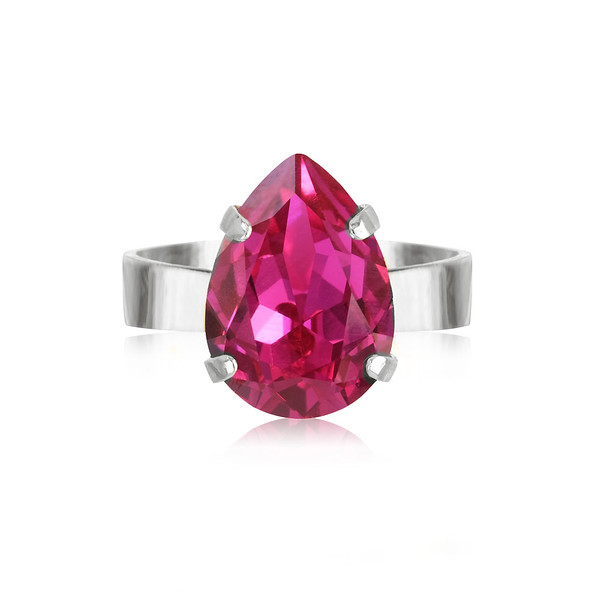 Mini Drop Ring / Fuchsia Rhodium