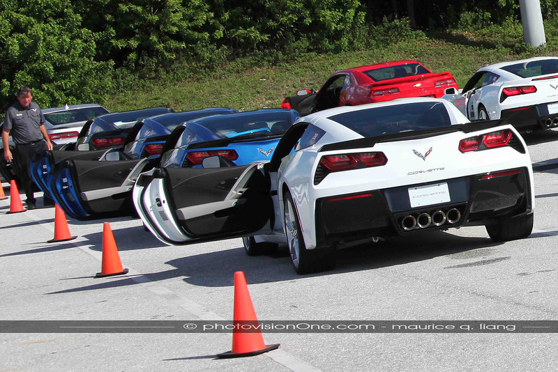 Corvettes ready on the slalom course where we compare Tour, Sport, and Track modes back-to-back.