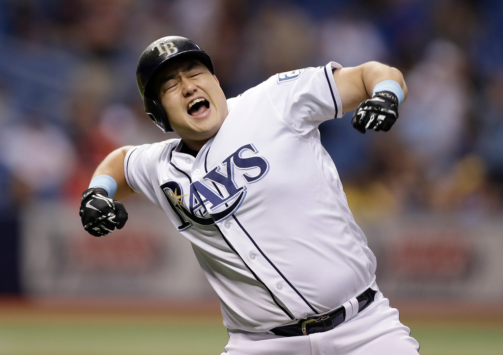 . Tampa Bay Rays\' Ji-Man Choi, of South Korea, celebrates his two-run walk off home run off Cleveland Indians pitcher Brad Hand during the ninth inning of a baseball game Monday, Sept. 10, 2018, in St. Petersburg, Fla. (AP Photo/Chris O\'Meara)