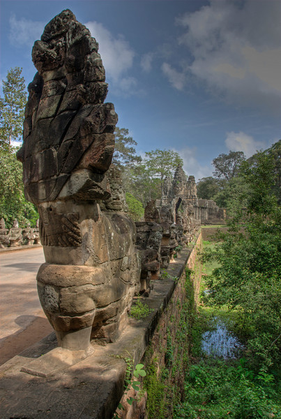 Angkor Thom Gate and Naga bridge in Siem Reap, Cambodia