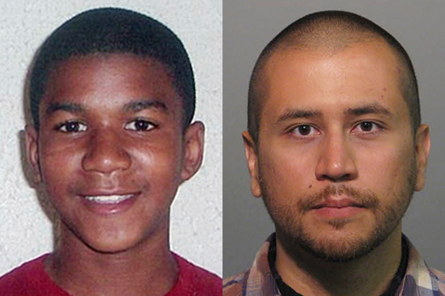 Description of . FILE -This combo image made from file photos shows Trayvon Martin, left, and George Zimmerman. On Saturday, July 13, 2013, jurors found Zimmerman not guilty of second-degree murder in the fatal shooting of 17-year-old Martin in Sanford, Fla. The six-member, all-woman jury deliberated for more than 15 hours over two days before reaching their decision Saturday night. (AP Photos, File)