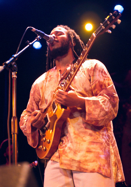 Ziggy Marley strumps his guitar to a large and loud crowd that was fired up from Michael Franti and Spearhead just minutes before in a performance firday night at the BMU