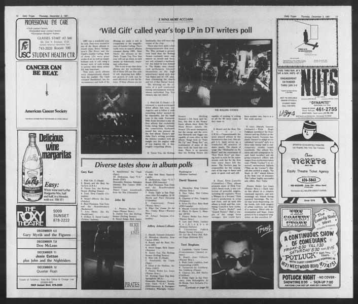 Daily Trojan, Vol. 91, No. 62, December 03, 1981