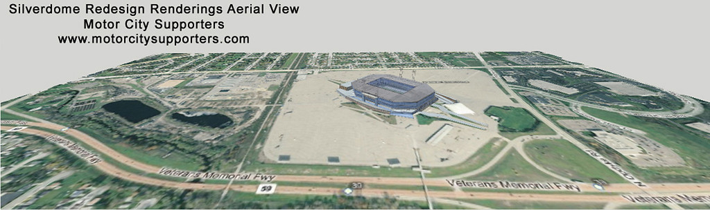 . A website has released what it purports to be leaked renderings of renovations to take place at the Pontiac Silverdome for a major league soccer team.   Motor City Supporters has revealed two drawings of the Silverdome redesigned to support a soccer team. Silverdome officials could not be reached for comment. The website is for the Motor City Supporters Group, which is made up of professional soccer fans with a desire to bring a professional team to Detroit.  The Silverdome officials have confirmed Canadian owner Andreas Apostolopoulos wants to bring a soccer team to the venue.