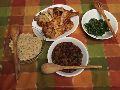 Grilled Chicken, Black Beans & Rice and Turnip Greens