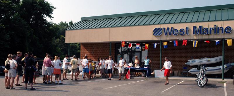 Registration line at West Marine