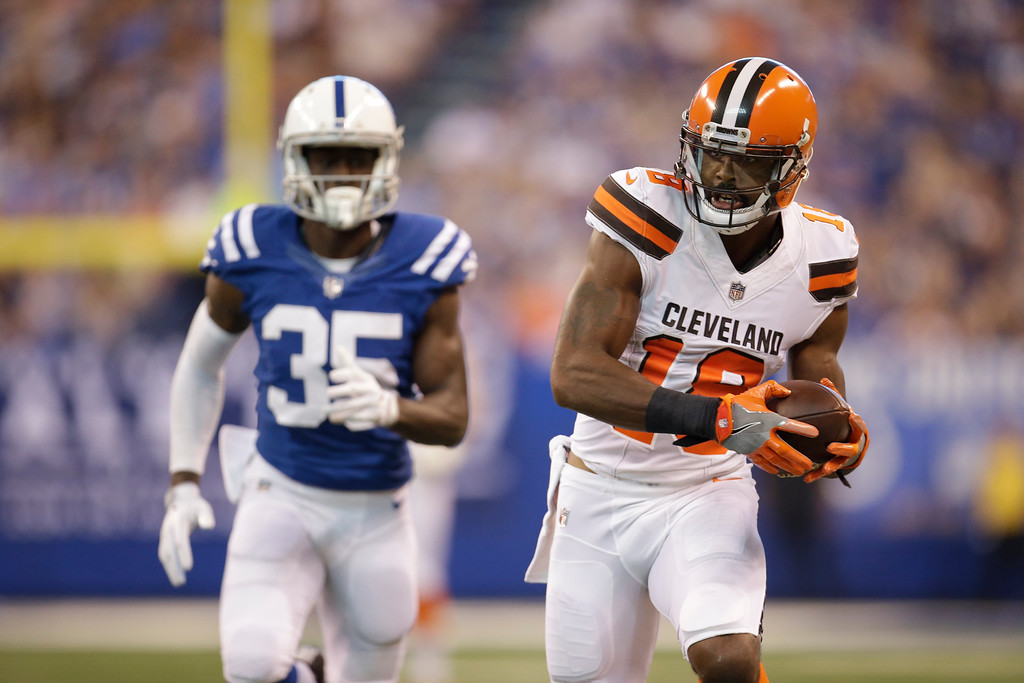 . Cleveland Browns wide receiver Kenny Britt (18) after a catch in front of Indianapolis Colts defensive back Pierre Desir (35) during the first half of an NFL football game in Indianapolis, Sunday, Sept. 24, 2017. (AP Photo/AJ Mast)