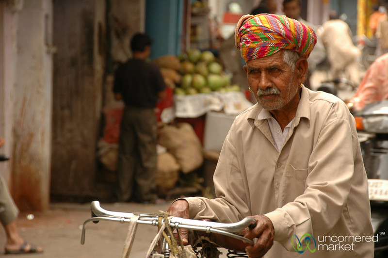 Older Rajasthani Man Going through Udiapur, India