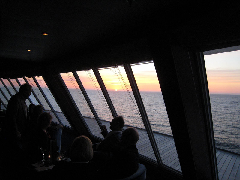 Midnight sunset in the observation lounge