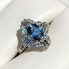 1.41ctw Art Deco Style Aqua and Diamond Dinner Ring 1