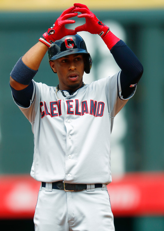 . Cleveland Indians\' Francisco Lindor gestures to the dugout after hitting a double off Colorado Rockies starting pitcher Kyle Freeland to lead off the fourth inning of a baseball game Wednesday, June 7, 2017, in Denver. Colorado won 8-1. (AP Photo/David Zalubowski)