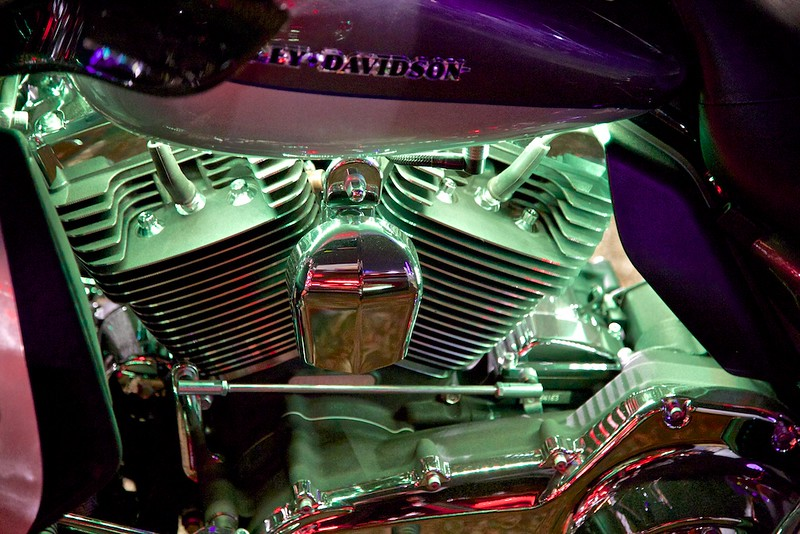 Even the Harleys have special lighting for the Fair.