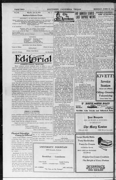 Southern California Trojan, Vol. 9, No. 1, June 30, 1930