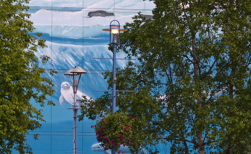 Mural on a building wall in the city of Anchorage Alaska of dolphins and includes the surrounding foliage.