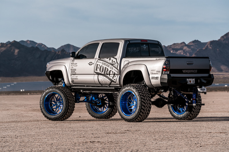 @T_harper96 @Vengeance_tacoma 2005-15 Toyota Tacoma featuring our New 2019 Concave 24x14 Lollipop Blue #GENESIS wrapped in 40x1550x24 @NittoTire-64.jpg