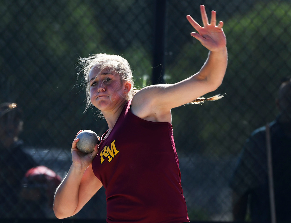 . Gabriella McDonald, Rocky Mountain, throws during the girls 5A shot put finals at the Colorado High School State Track and Field Championships at Jeffco Stadium May 21, 2016. McDonald won with a throw of 40\' 8.5 inches. (Photo by Andy Cross/The Denver Post)