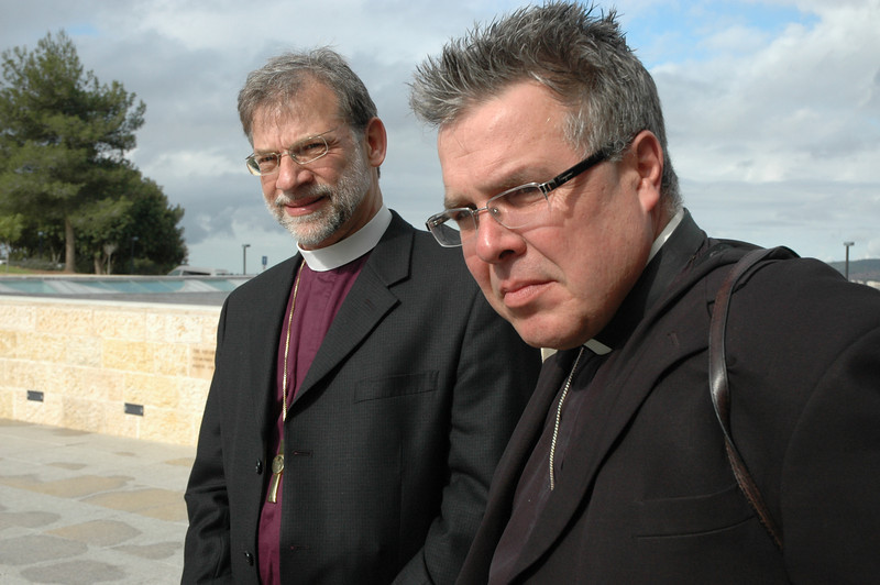 Bishop Bruce Burnside, left, ELCA South-Central Synod of Wisconsin and Bishop Michael Pryse, ELCIC, prepare to enter Yad Vashem, Jerusalem, a Holocaust memorial.