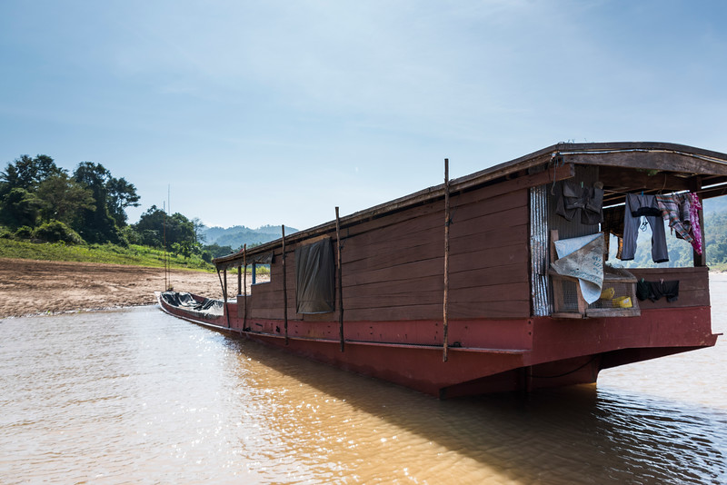 Houseboat in River Mekong, Laos