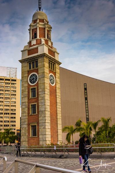 On Hong Kong's famous Tsim Sha Tsui promenade, the 1908 clock tower is all that remains of the Kowloon-Canton Railway Terminus.