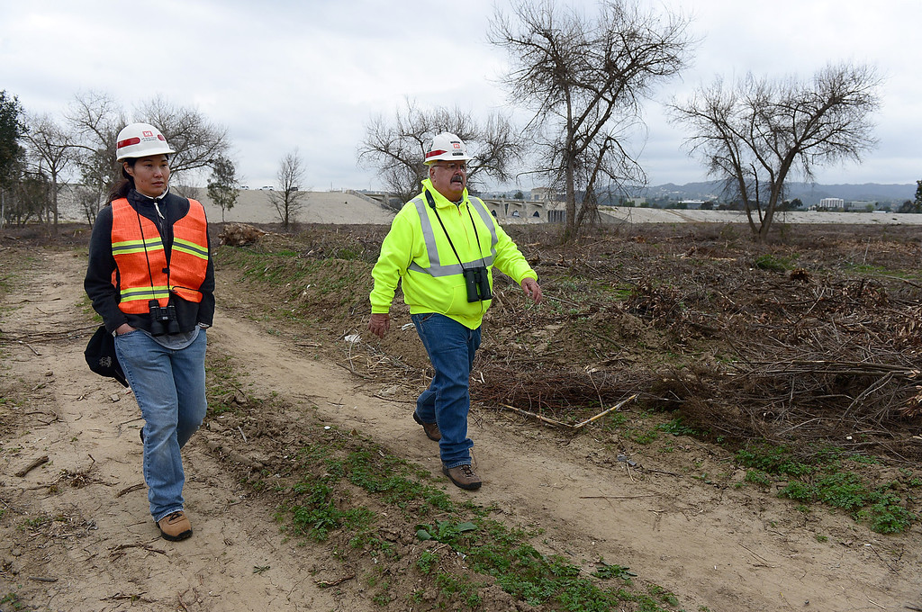 . Biologists Tiffany Bostwich and Thomas Keeney, of the U.S. Army Corps of Engineers, walk through the controversial clearcut area in the Sepulveda Dam Basin in Encino Tuesday, February 19, 2013 as work continues. Nearly a 50-acre wildlife reserve area was cleared of non-native trees and brush in the flood control basin last December. (SGVN/Staff Photo by Sarah Reingewirtz)