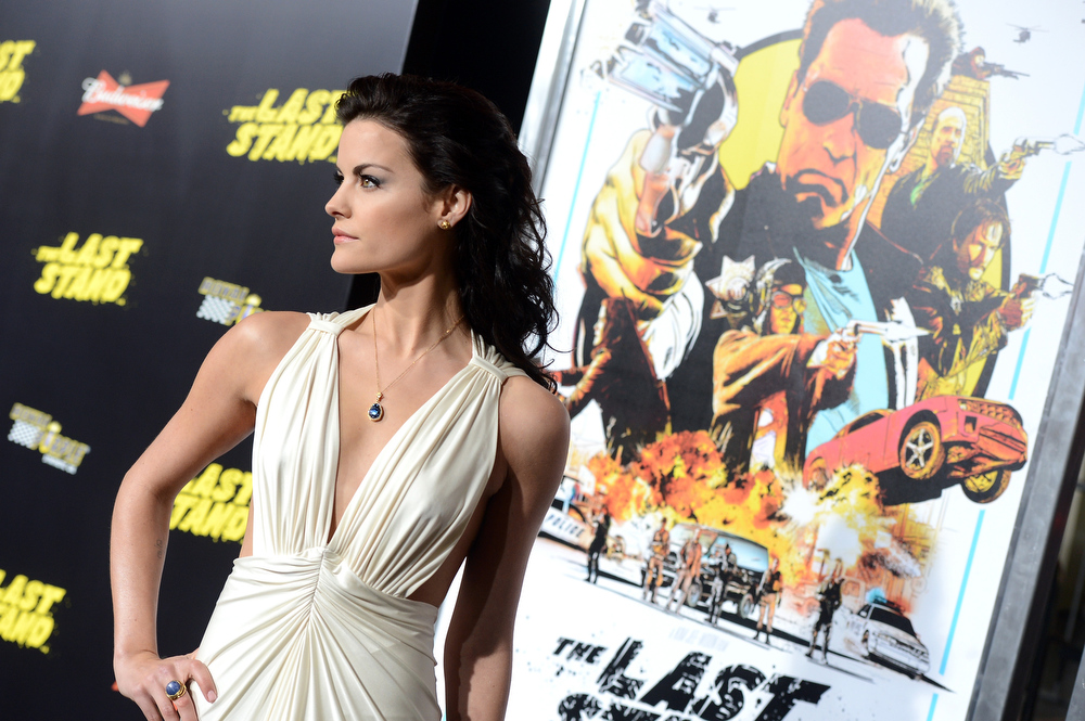 Description of . Actress Jaimie Alexander arrives at the premiere of Lionsgate Films'
