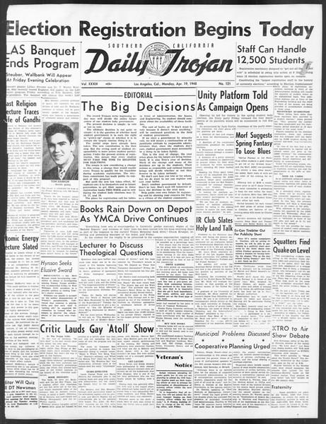 Daily Trojan, Vol. 39, No. 121, April 19, 1948