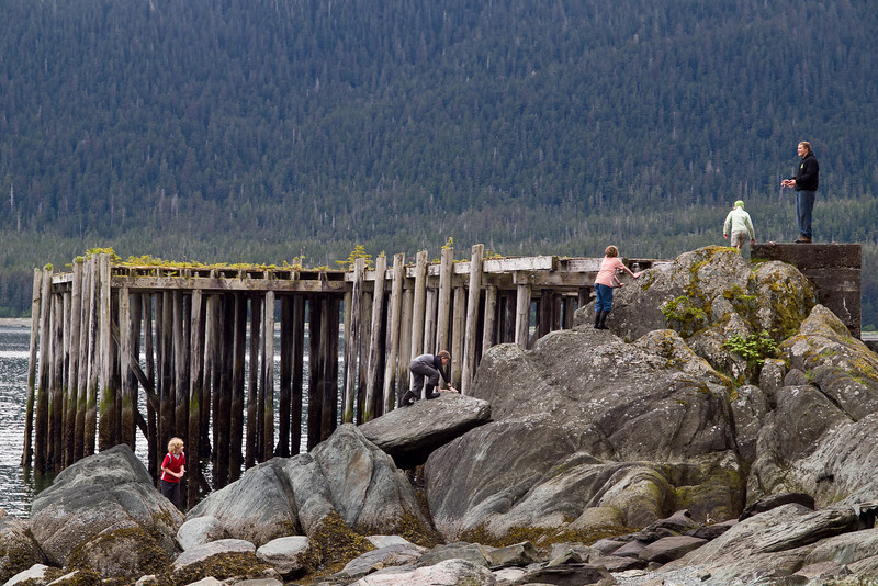 Natural Stairway. Some students from my daughters middle school class climb a rock at a beach South of Juneau. May 22.