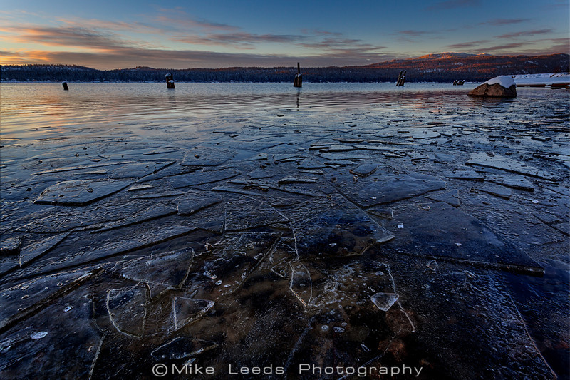 Looking towards Brundage Mountain on a cold New Years eve at Payette Lake in McCall Idaho