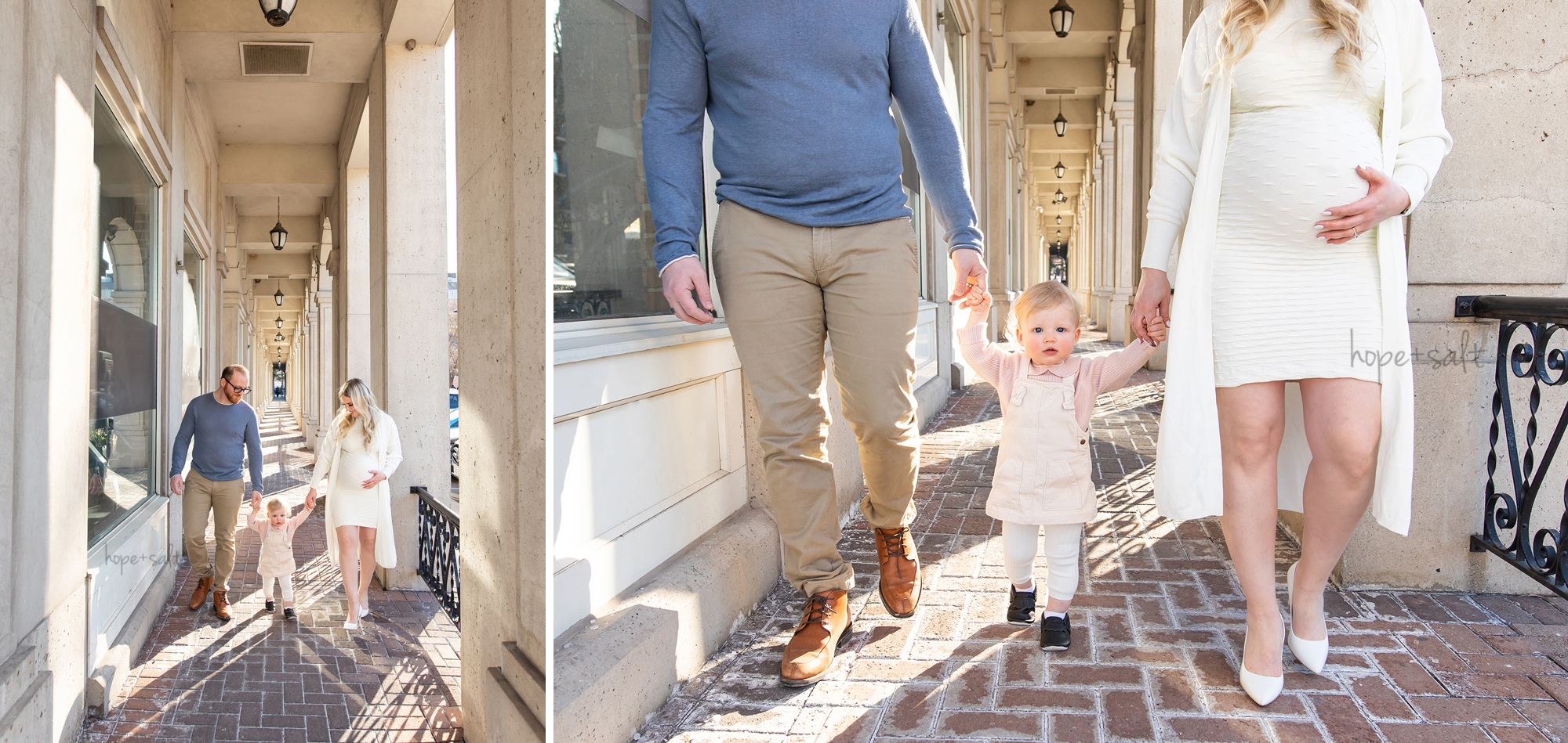 chic downtown outdoor maternity family photos with toddler girl burlington ontario photographer hope and salt