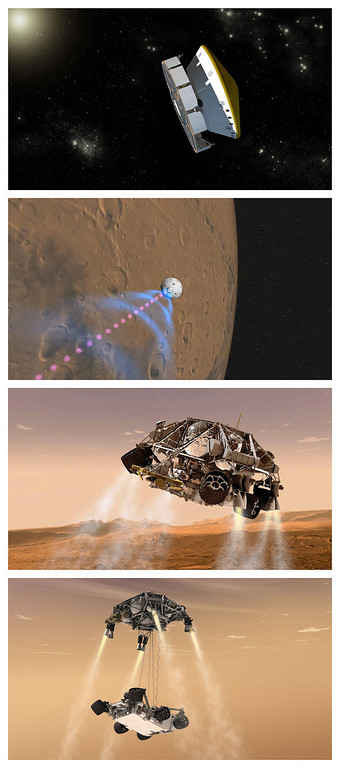 ". FILE - This combination of artist\'s renderings released by NASA/JPL-Caltech shows how NASA\'s Curiosity rover is expected to approach and land on Mars. The second from top photo shows an illustration of signals beamed back to Earth and subsequent images show the descent stage and ""sky crane\"" lowering it to the surface. (AP Photo/NASA/JPL-Caltech)"