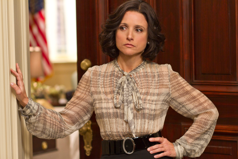 ". This undated image released by HBO shows Julia Louis-Dreyfus portraying Vice President Selina Meyer in a scene from ""Veep.\"" Louis-Dreyfus was nominated for a Golden Globe for best actress in a comedy series, Thursday, Dec. 13, 2012, for her role in the series.  The 70th annual Golden Globe Awards will be held on Jan. 13.  (AP Photo/HBO, Bill Gray)"