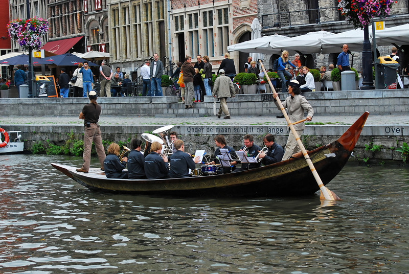 The Panta Rhei brass band on the river Leie during the OdeGand 2008 festivities in Ghent (Gent), Belgium.
