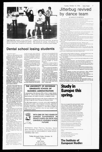 Daily Trojan, Vol. 67, No. 22, October 15, 1974