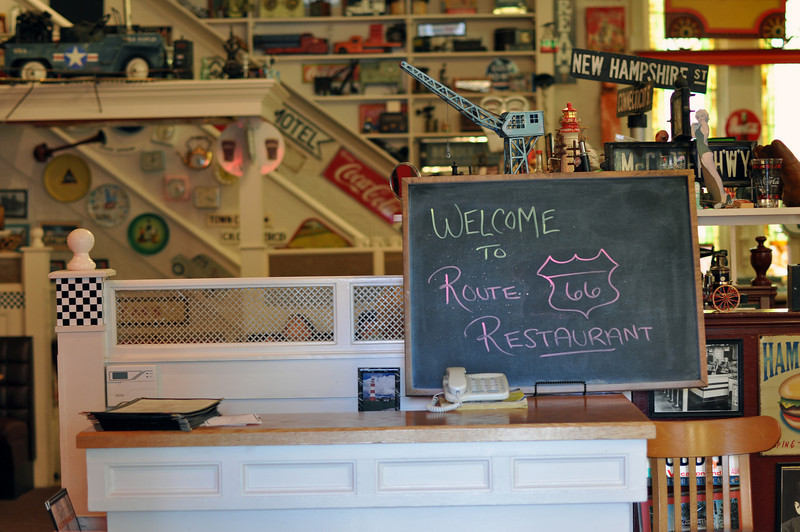 Found this cute restaurant on Main Street in Bar Harbor called Route 66 Restaurant.  The atmosphere was fun; the food was ok.