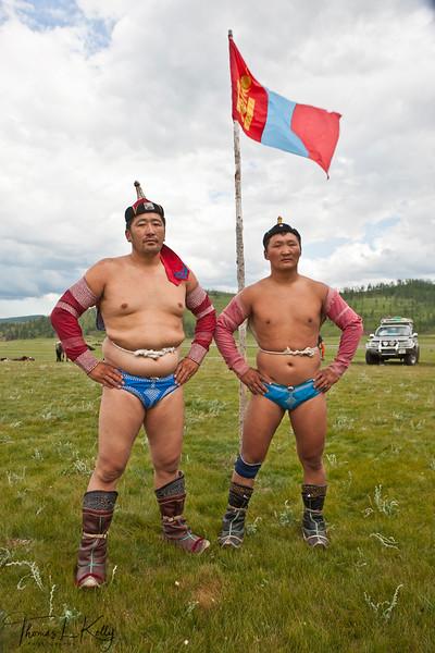 Wrestling at Annual Naadam Festival. Mongolia.