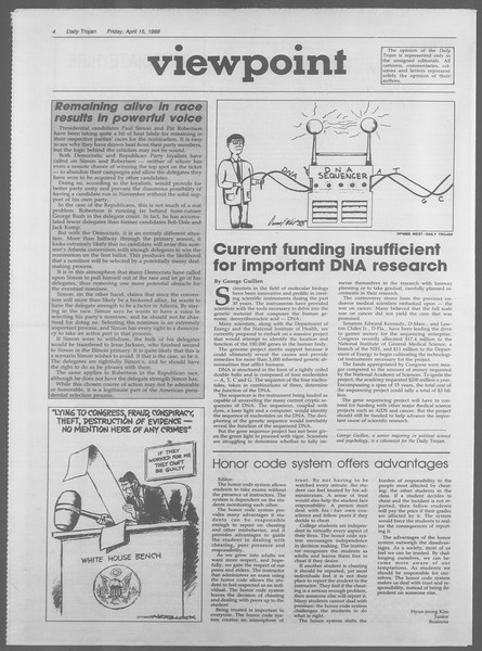 Daily Trojan, Vol. 106, No. 61, April 15, 1988
