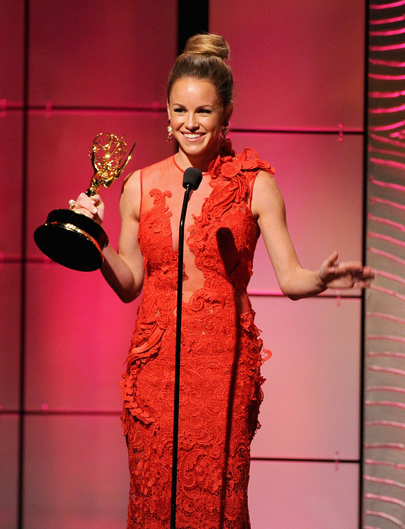 """. Actress Julie Marie Berman accepts the Outstanding Supporting Actress in a Drama Series award for \""""General Hospital\"""" onstage during The 40th Annual Daytime Emmy Awards at The Beverly Hilton Hotel on June 16, 2013 in Beverly Hills, California.  (Photo by Kevin Winter/Getty Images)"""