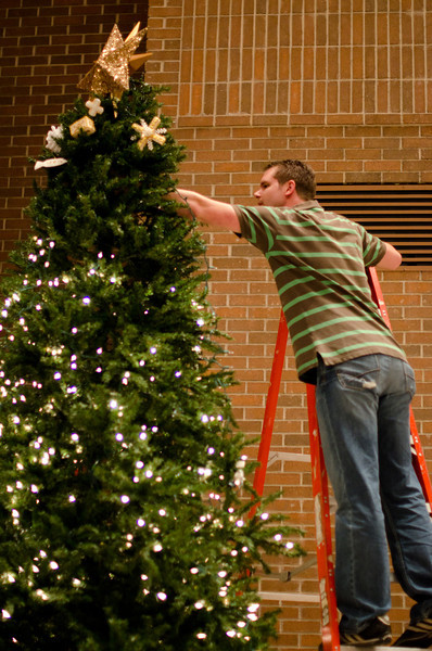 Decorating Church Christmas Tree