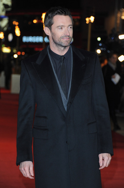 """. Actor Hugh Jackman attends the \""""Les Miserables\"""" World Premiere at the Odeon Leicester Square on December 5, 2012 in London, England.  (Photo by Stuart Wilson/Getty Images)"""